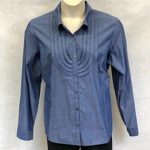 Van Heusen blue ruffle button down shirt